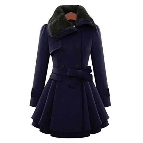 Damen Wollmantel Winter mantel Lange mit Gürtel Schalkragen Zweireiher Casualkleider LuckyGirls (Marine, S) (Schalkragen-hosen-anzug)
