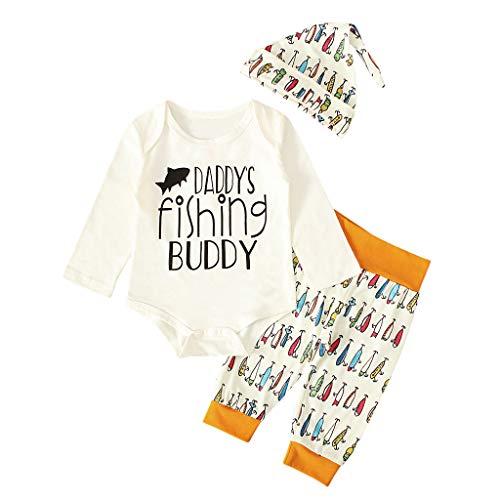 Hahuha Toy,0-3 Monate Neugeborenen Säugling Junge Angeln Jagd Tops Strampler Hose Hut Outfits Fischer Set