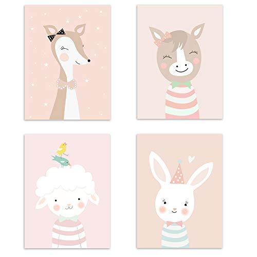 4er Set Kinderzimmer Babyzimmer Poster Bilder Din A4 | Mädchen Junge Deko | Dekoration Kinderzimmer | Waldtiere Safari Skandinavisch 4er-d