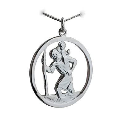 Silver 30mm round cut out st christopher pendant with a curb chain silver 30mm round cut out st christopher pendant with a curb chain 18 inches british jewellery workshops amazon jewellery mozeypictures Choice Image
