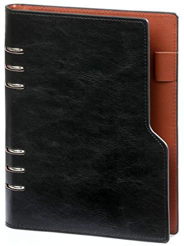 Kalpa A5 Compact Organizer mit Papierfüller Wochenplaner, Tagebuch, Tagebuch -23 x 18 cm- Pullup schwarz