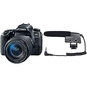 Canon EOS 77D 24.2MP Digital SLR Camera + EF-S 18-135 mm 3.5-5.6 is USM Lens + Sennheiser MKE 400 Shotgun Microphone (Black)