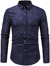 BUSIM Men's Long Sleeved Shirt Autumn Winter Fashion Casual Slim Retro Cashew Fruit Paisley Pattern Dark Print... - B07H9BB4KM