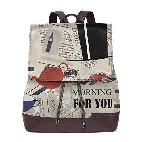 De Li Sheng Damen Lederrucksack London News Today Women Soft Leather Shoulder Bags for Travel School Office