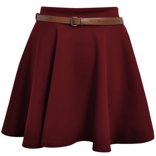 Skater Belted Stretch Waist Plain Flippy Flared Short Skirt Burgundy Womens Size 12