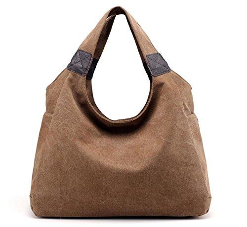 Frauen Segeltuchhandtasche Retro- Art Und Weise Schultertasche Lässig Einfach Große Kapazität Reisetasche Coffee