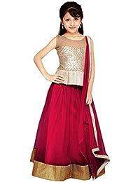 S R Fashion Girls' Soft Net Silk Multi-Coloured Lehenga Choli For Girls 8 to 11 Years(SRF_GB1_65840_Free Size_8 to 11 Years) (Red)