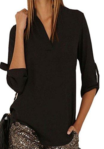 YouPue Chemise Femme Col V Bouton Manches Longue Blouse Mousseline T-Shirt Tops Eté Décontractée Noir