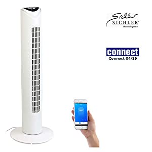 Sichler Haushaltsgeräte Ventilator mit App: Turmventilator mit WLAN & App, für Amazon Alexa & Google Assistant (Google Home Ventilator)
