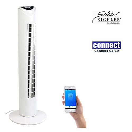 Sichler Haushaltsgeräte Alexa Ventilator: Turmventilator mit WLAN & App, für Amazon Alexa & Google Assistant (Google Home Ventilator) -