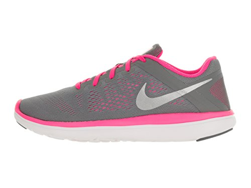 Nike Flex 2016 Rn (Gs), Entraînement de course fille Cool Grey/Black/Pink Blast/Metallic Silver