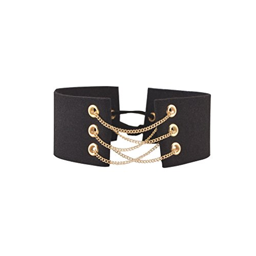 Einfache Internationalen Kostüm Ideen (YAZILIND Frauen mit Charme Schwarzer Breit Flanell-Kragen-Halskette)