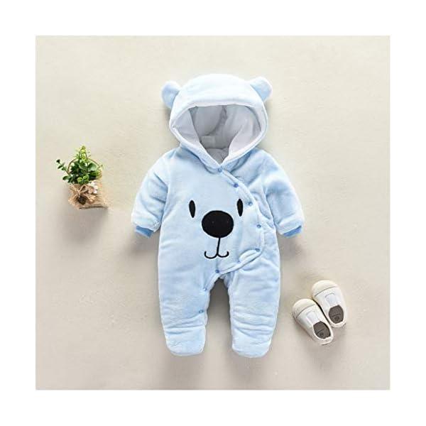Runuo Mameluco del bebé recién Nacido,Mono de Invierno de bebé con Pijama con Capucha Trajes Infantiles 3
