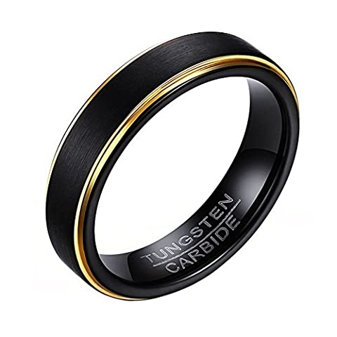 OAKKY Mens Tungsten Carbide Ring Simple Classic Black Wedding Band