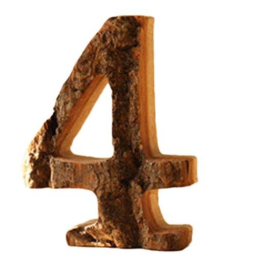 BIGBOBA Hölzerne Buchstaben A-Z & 0-9 Retro DIY Dekoration für Hauptcafé-Bekleidungsgeschäft-Geburtstags-Party-Hochzeits-kakifarbiges 0, Heigh 10CM (4)