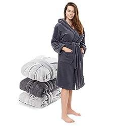 Twinzen Morgenmantel Damen Microfaser (100% Polyester) mit Kapuze für Erwachsene (Medium, Dunkelgrau) Oeko TEX zertifizierte Bekleidung - Morgenmantel 2 Taschen, Gürtel und Aufhängeschlaufe