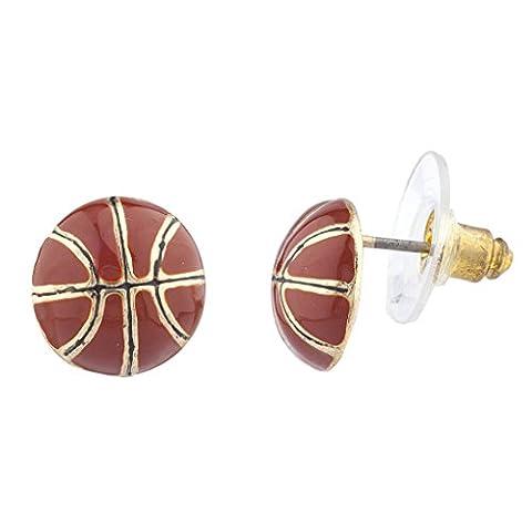 LUX Zubehör Gold Ton Emaille braun Sport Basketball Neuheit Post