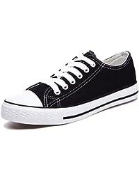 Honeystore Unisex's Sneaker High Schnürer Denim Sneakers Sportschuhe Turnschuhe Flache Leinwand High-Cut Schuhe Übergrößen Flandell Weinrot 42 CN w5jswQCHi
