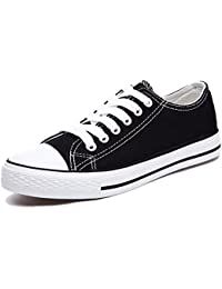 Honeystore Unisex's Sneaker High Schnürer Denim Sneakers Sportschuhe Turnschuhe Flache Leinwand High-Cut Schuhe Übergrößen Flandell Weinrot 42 CN