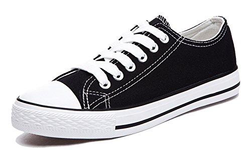 Honeystore Unisex's Schnürung Leinwand Flache Low-Cut Schuhe Erwachsene Sneaker Schwarz 41 EU (Leinwand Herren-unisex-schwarz Turnschuhe)