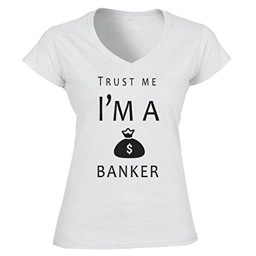 Trust Me I'm A Banker Damen V-Neck Weiß