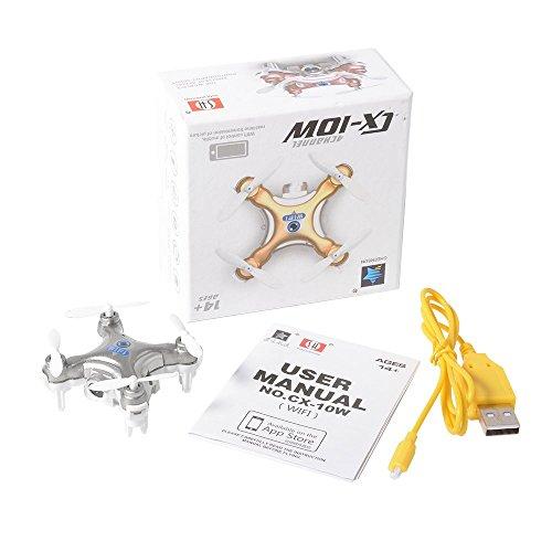 Cheerson CX-10W 2.4G 4CH 6 Achse iOS / Android App Wifi-Fernbedienung RC FPV Echtzeit Video Mini Quadcopter Hubschrauber Drone UFO mit 0.3MP HD Kamera RC196 - 2