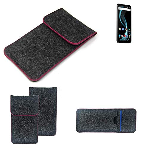 K-S-Trade® Filz Schutz Hülle Für -Allview X4 Soul Infinity Plus- Schutzhülle Filztasche Pouch Tasche Case Sleeve Handyhülle Filzhülle Dunkelgrau Rosa Rand