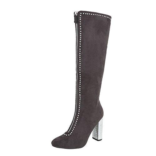 Ital-Design High Heel Stiefel Damenschuhe High Heel Stiefel Pump High Heels Reißverschluss Stiefel Grau AE30