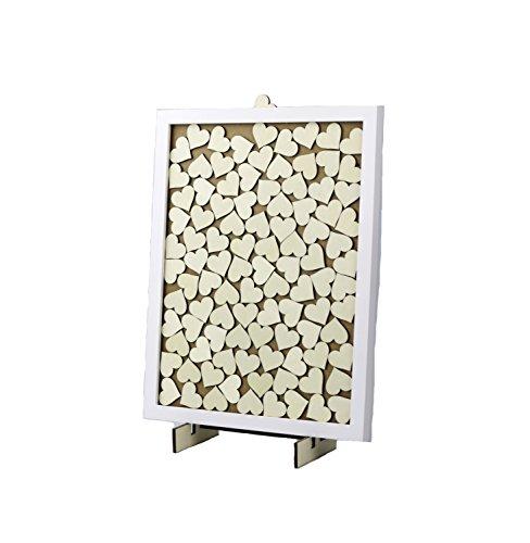 Hochzeit Gästebuch Alternative Holz Herz Drop Box mit 100 Herzen, Frame Stand und Zeichen bereit, nachher zu hängen