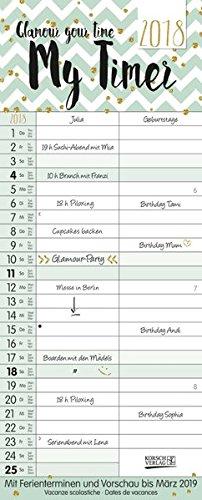 My Timer-Glamour your Time 2018: TypoArt Familienplaner mit 2 breiten Spalten. Edler Familienkalender mit Ferienterminen und Vorschau bis März 2019.