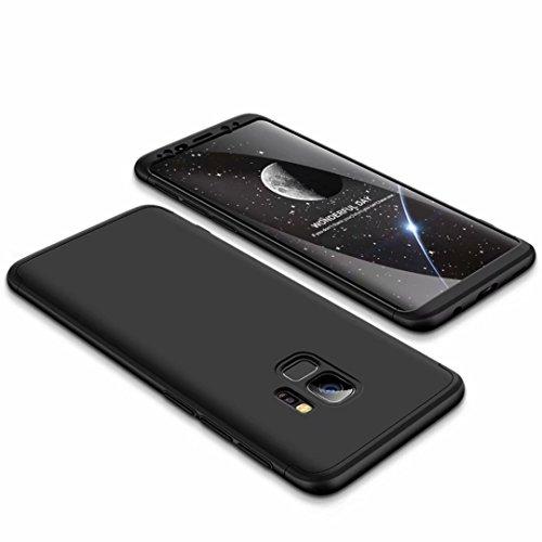 Coque Samsung S9 360 degrés Noir Protection Matte Ultra Slim Cover PC Hard Case Protection du Corps Couverture antidéflagrante 360 ° Couverture complè...