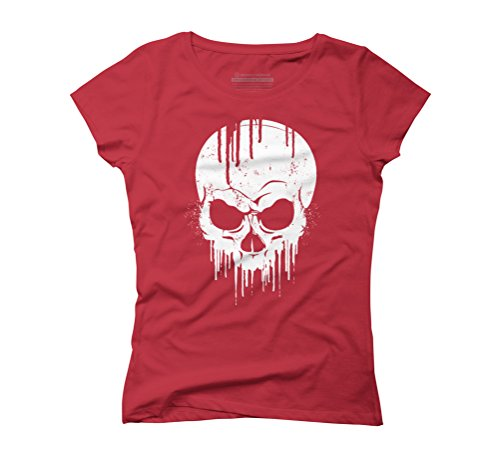 Dripping Skull Women's Graphic T-Shirt - Design By Humans Red