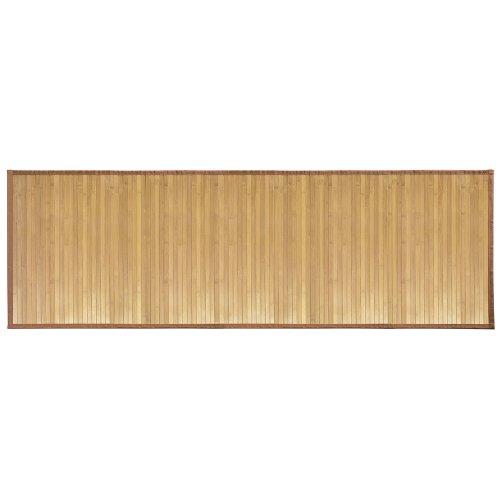 iDesign Tappeto bagno, Tappeto antiscivolo bagno o cucina impermeabile extra lungo, Tappetino bagno in legno di bambù, marrone chiaro