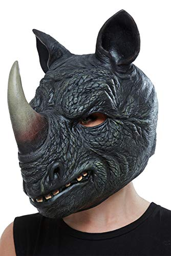 Rhino Kostüm - Smiffys 50883 Rhino Latex Maske, Herren, Grau, Einheitsgröße
