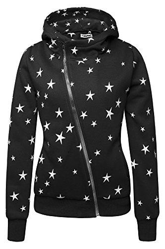 Sterne (Yidarton Winter Damen Hoodie Sweatshirt Sterne Muster Kapuzenpullover (Medium, Schwarz-Stern))