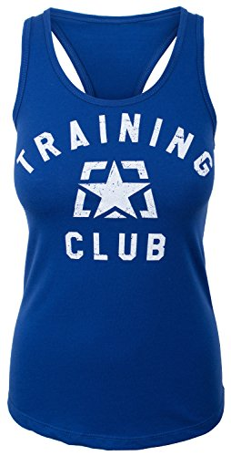 Jumpbox Fitness Training Club (zurück: Hier, Um Arbeit) - Frauen Royal Blau Racerback Workout Tank Top, Damen, Königsblau, X-Large -
