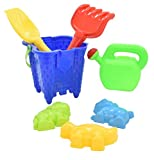 Guilty Gadgets Beach Sand Bucket Castle Set - 7pc Set - Tools With Rake / Spade / Moulds / Watering Can / Tools Children Outdoor Toy For your Spring/Summer Holiday