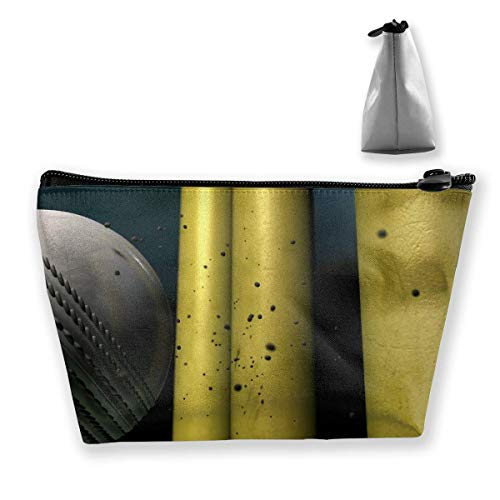Trapezoid Toiletry Pouch Portable Travel Bag Cricket Ball Hitting Wickets Closeup Animation Bag