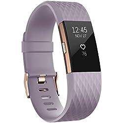 Fitbit Charge 2 Edición Especial - Pulsera de Actividad Física y Ritmo Cardiaco, Unisex Adulto, Lavanda / Oro Rosa, S