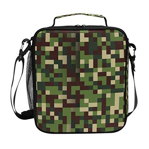 ISAOA Lunchtasche, isolierte Kühltasche, für Schule, Picknick, wasserdicht, leicht, Camouflage-Mosaik-Muster, für einfaches Tragen mit verstellbarem Gurt -