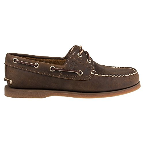 Timberland Men's Classic 2-Eye Boat 1001R Leather Gaucho Roughcut-Brown-8 Size 8
