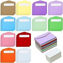 Elcoho 120 Lot Mini Enveloppes Avec Pices Blanc Blank Cartes De Visite Color