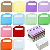 Elcoho 120 Mini-Umschläge mit 120 Stück weißen, blanko, Visitenkarten, Bunte Mini-Umschläge, Geschenkkarten für Weihnachten, Erntedankfest, Hochzeit, Geburtstag Mixed Colour