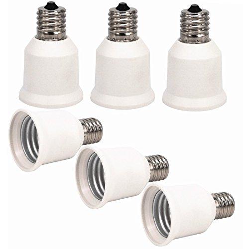 6pcs E17 à E27 Ampoule Lampe base Socket lampe adaptateur convertisseur Support pour convertisseur, LED culot de lampe adaptateur