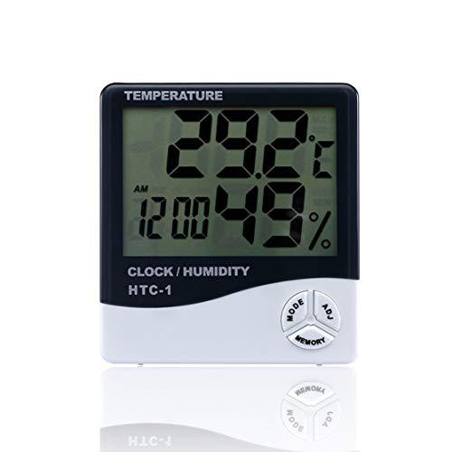 CHANNIKO-DE HTC-1 Indoor Room LCD Elektronisches Temperatur-Feuchtigkeitsmessgerät Digitales Thermometer Hygrometer Wetterstation Wecker Htc Lcd