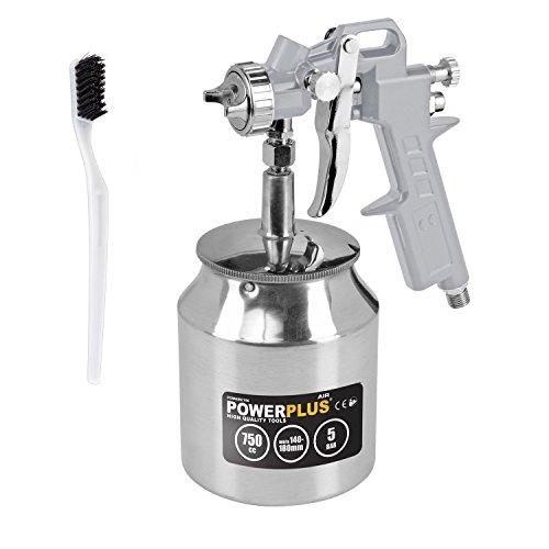 POWAIR0106 Druckluft Farbspritzpistole Hochdruck-Spraypistole, Spritzpistole, Lackierpistole, Saugbecherpistole mit 750ml Aluminium-Becher
