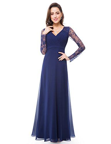 Ever-Pretty Robe de Soirée Robe de cérémonie Maxi Élégante V Col Manches Longue 44 Bleu Marin