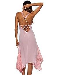 b778c9252cf7c4 Msliy Damen Kleid Strandkleid Spitze Asymmetrisch Rückenfrei Sommerkleid  Trägerkleid Große Größen Transparent Partykleid Cross…