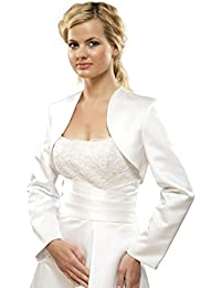 Brautjacke Bolero Jacke für Hochzeit/Brautkleid aus Satin Gr S bis 4XL - E6