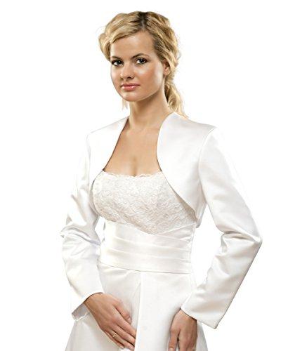 Brautjacke Bolero Jacke für Hochzeit/Brautkleid aus Satin Gr S bis 4XL - E6 (4XL, ivory/champagner)
